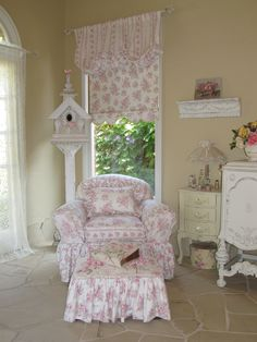 shabby pink roses chair and birdhouse