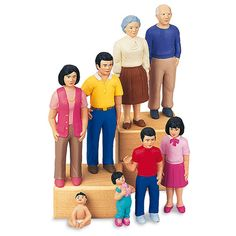 Oriental Block People Family - Our Oriental Block People Family are perfect for populating play cities and towns. These sturdy figures feature up-to-date styling and lots of authentic details, plus they are specially moulded to actually stand, for added realism and frustration-free play.