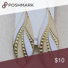 Enamel earrings White enamel with gold tone Boutique Jewelry Earrings