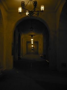 Creepy hallway, with who knows what waiting to leap out from every empty, dark doorway....