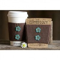 Natural Life Brown Crochet Coffee Cozy