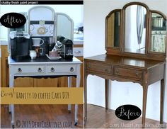 Home Decor Ideas   Before and After Vanity to Coffee Cart using DecoArt Chalky Paint