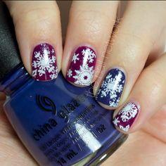 Stamped Jewel-Toned Snowflake Nail Art