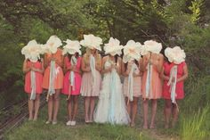 I love the idea of my bridesmaids all wearing different shades of coral, blush and bittersweet orange.