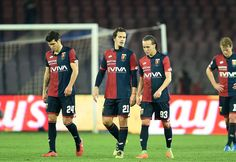 Players of Genoa CFC show their disappointment after the Serie A match between SSC Napoli and Genoa CFC at Stadio San Paolo on February 10, 2017 in Naples, Italy.