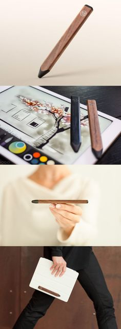 """Pencil"" stylus by 53 in Walnut. http://shop.fiftythree.com"