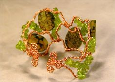 Legendary - Dragon Vein Agate Peridot Copper Cuff (Customer Design) - Lima Beads