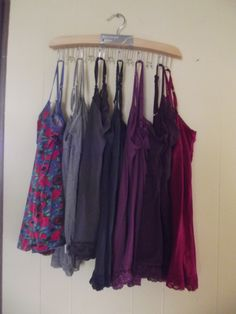 The belt hanger... works perfect to hang all of those camis that take up space in your dresser or closet! Brilliant!