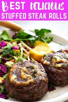 These juicy Stuffed Flank Steak (aka beef rolls, steak rolls or pinwheels). Easy Chicken Recipes, Meat Recipes, Gourmet Recipes, Cooking Recipes, Water Recipes, Grilling Recipes, Flank Steak Rolls, Flank Steak Recipes, Stuffed Steak Rolls