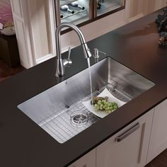 Vigo Farmhouse Stainless Steel Kitchen Sink, Faucet, Grid, Strainer And Dispenser Vigo Far