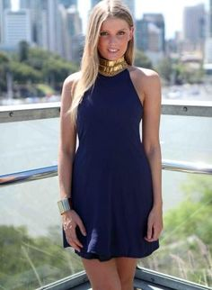 Navy Halter Dress with Gold Beaded Antique Neckline,  Dress, navy halter gold high neckline, Chic