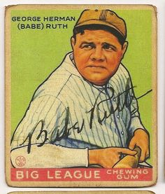 Babe Ruth 1933 Goudey Baseball Reprint Card (w/ Facsimile Signature on front of card) Original Back and Size (Yankees) Babe Ruth, Sports Baseball, Baseball Jerseys, Baseball Players, Basketball, Baseball Stuff, Baseball Movies, Baseball Art, Baseball Quotes