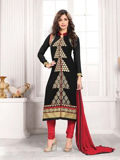 Black Georgette Pakistani Style Suit 65297