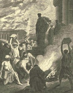 "Vagabond Jews and Exorcists Burn Their Books Because of Paul's Miracles. BIBLE SCRIPTURE: Acts 19:19, ""Many of them also which used curious arts brought their books together, and burned them before all men: and they counted the price of them, and found it fifty thousand pieces of silver."""
