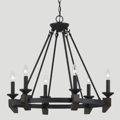 """One of my favorite discoveries at WorldMarket.com: Whittaker Chandelier Crafted of forged iron with bronze and wood finish Hardwire; professional installation recommended Requires 6 light bulbs, 60-watt maximum each Includes 6'L chain for hanging 28""""Dia. x 26.5""""H; Cord: 10'L"""