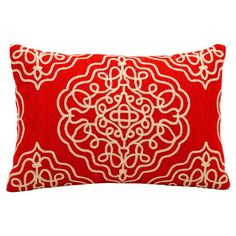 Add a pop of pattern to your sofa or loveseat with this eye-catching wool pillow, showcasing a medallion motif in red and ivory.  Pr...
