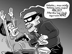 Kartun Benny, Februari 2015: Polisi Sibuk Lawan KPK, Begal Merajalela