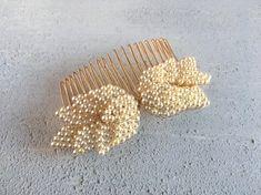 Bridal Hair Comb, Pearl Leaf Hair Comb