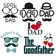 Cool Father Dad Goodfather Pack with Glasses, Hat, Mustache and Bow Cuttable Design Cut File. Vector, Clipart, Digital Scrapbooking Download, Available in JPEG, PDF, EPS, DXF and SVG. Works with Cricut, Design Space, Sure Cuts A Lot, Make the Cut!, Inkscape, CorelDraw, Adobe Illustrator, Silhouette Cameo, Brother ScanNCut and other compatible software.