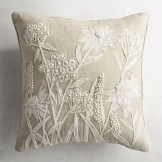 Plant some wildflowers in your home with our nature-inspired throw pillow that features a cotton cover and floral applique. Hand Embroidery Flowers, Silk Ribbon Embroidery, Hand Embroidery Designs, Diy Embroidery, Embroidery Stitches, Embroidery Patterns, Machine Embroidery, Sock Monkey Pattern, Designer Bed Sheets