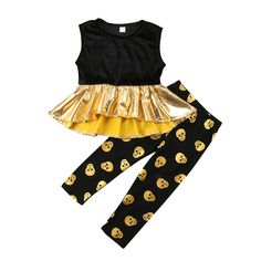 c1b744f230f0f Kids Baby Girls clothes Sleeveless round neck pullover Geometry T-shirts  Skull print Pants 2pc cotton Toddler Punk Alternative Summer Outfits