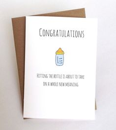 Funny Baby Congratulations Card, Baby Shower Card, Card For New Mom Or New  Dad