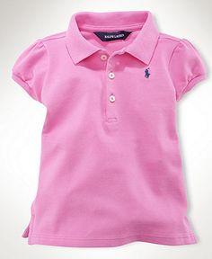 Ralph Lauren Baby Shirt, Baby Girls Stretch Mesh Polo - Kids Baby Girl (0-24 months) - Macy's