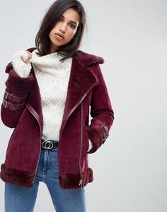 d3ba0ed92c1 Image 1 of ASOS DESIGN suede aviator Sherling Jacket