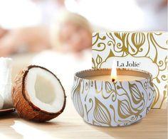 Duftkerze Vanille Kokosnuss 100% Sojawachs Geschenk Kerze in Dose 185g, 45 Stunden Brenndauer #kerze #kokos #vanille