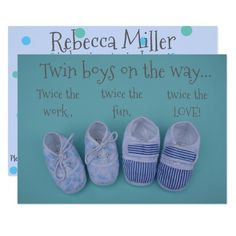 Cute pastel shoes boy twins baby shower invitation Custom Office Party Invitations #office #partyplanning