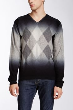 Impermeable Diamond Print Merino Wool Blend V-Neck Sweater on HauteLook