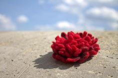 Red Felted Brooch Peony, Wool Jewelry, Handmade Unique Flower Accessories, Blue Brooch wool, flower folk boho. Flower-brooch of high quality wool. Fine handmade and pretty stuff. Suitable for casual wear as well as for social events, jackets, hats, bags & purses, anything.  Approx. 9 cm / 3.5 inches Technology: Felting Merino Wool  *red or blue - write