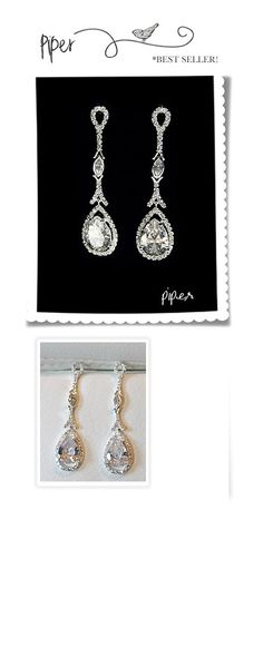 long teardrop cz earrings for a strapless gown