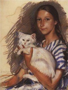Natasha Lancere with a cat  - Zinaida Serebriakova, 1924    Artist: Zinaida Serebriakova