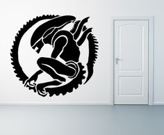 Alien Xenomorph Art Wall Tattoo Decal Large Mural Stencil Giant Sci Fi |