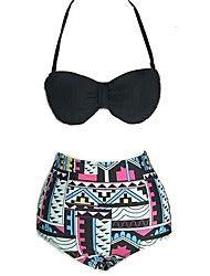 Mulheres Vintage cintura alta Geomatric Padrão Bikini Set