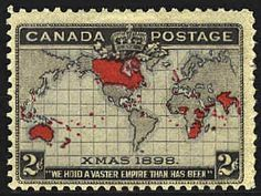 Canada Stamp 1898 - Map of British Empire on Mercator Map Stamp Values, Postage Stamp Art, Going Postal, Mail Art, Stamp Collecting, My Stamp, Canadian Christmas, 1st Christmas, Abstract Art