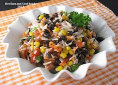 Leave off the corn, and sub Quinoa or brown rice for the white rice, and you are good. Serve with a nice grilled chicken breast, and yummy!!!  Rice and Vegetable Salad Recipe  I served ours with a dollop of plain Greek yogurt on top  that was extra nummy.