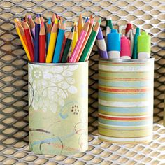 cute and easy  covered soup cans.
