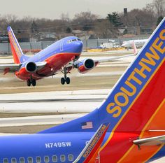 A Southwest jet takes off from airport!!!