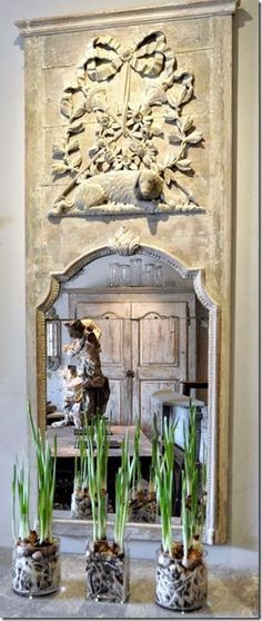 Beautiful mirror in a tall embellished stone frame♡