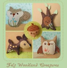 Woodland Animals Waldorf Owl Deer Squirrel Tree and Acorn Set All Natural Wool Softies designed by Aimee Ray MADE TO ORDER. $35.00, via Etsy.
