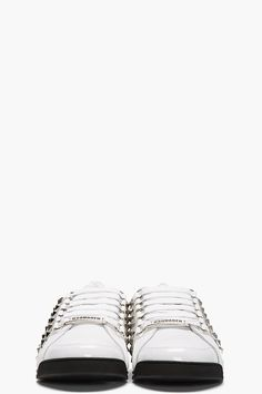 DSQUARED2 White Studded Leather SportSneakers