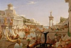 The Consummation of Empire by Thomas Cole | Art Posters & Prints #yesterdayspaintingstoday #empire The Course Of Empire, Canvas Art Prints, Fine Art Prints, Album, Ancient Architecture, Ancient Romans, Roman Empire, American Artists, Poster Size Prints