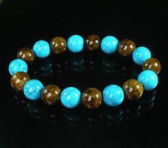 Bicolor BRWON BLUE Chinese Jade Gem Buddhist Prayer Mala Beads Bracelet WZ88