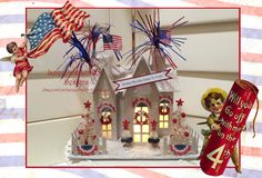 Handmade by me - buy it at my Etsy store: https://www.etsy.com/listing/277697178/lighted-fourth-of-july-colonial-cottage?ref=shop_home_active_1