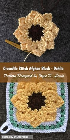 Do you already know Crocodile Stitch? If not, check the pattern designed by Joyce D. Lewis: Crocodile Stitch Afghan Block - Dahlia is a crochet pattern for a beautiful afghan block. Motifs Granny Square, Sunburst Granny Square, Crochet Motifs, Granny Square Crochet Pattern, Crochet Squares, Granny Squares, Crochet Tutorial, Crochet Diy, Manta Crochet