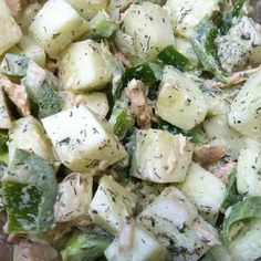 Wild Planet Tuna, Homemade mayo and ranch dressing, cucumber, onion, green pepper, dill, salt and pepper.