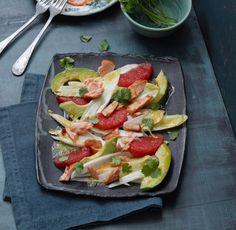 Avocado-Grapefruit- Chicoree-Salat mit Lachs