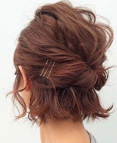 Easy Updo Hairstyles for Short Hair picture 2 frisuren frauen frisuren männer hair hair styles hair women Short Hair Images, Short Hair Styles Easy, Short Hair Cuts, Curly Hair Styles, Pixie Cuts, Short Pixie, Short Hair Updo Easy, Short Bangs, Short Bob Updo